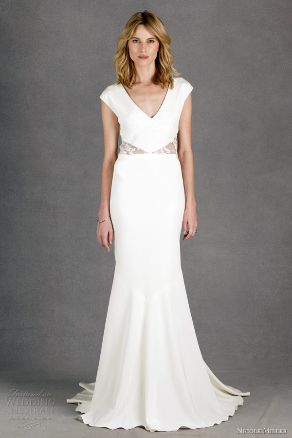 nicole miller wedding dresses spring 2014 kimberly lace detail cap sleeve gown