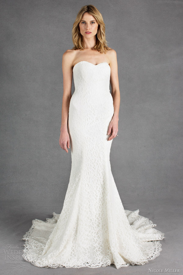 nicole miller wedding dresses spring 2014 poppy strapless lace sheath