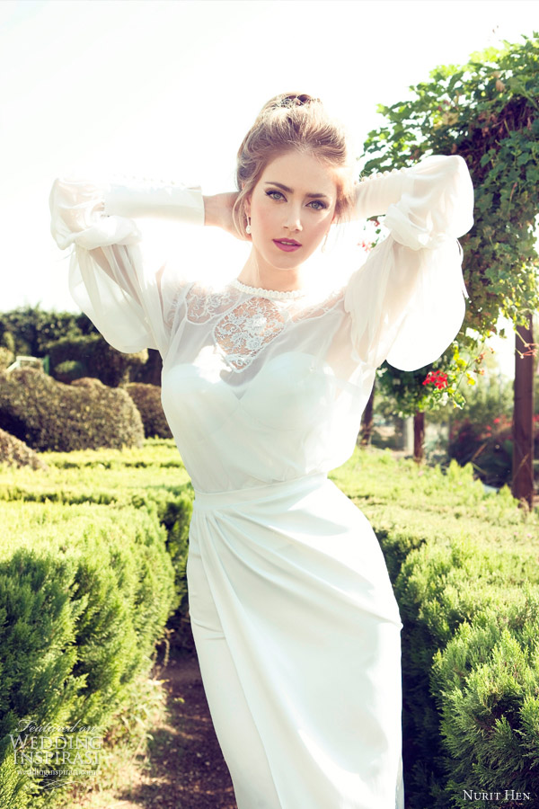 nurit hen 2013 long sleeve bridal gown