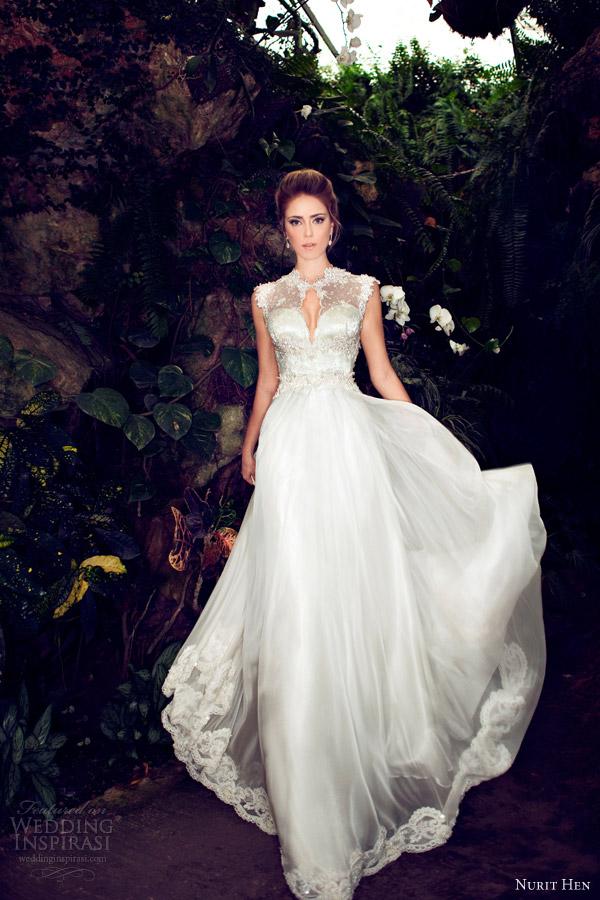 Nurit uando 2013 casamento vestido de mangas curtas