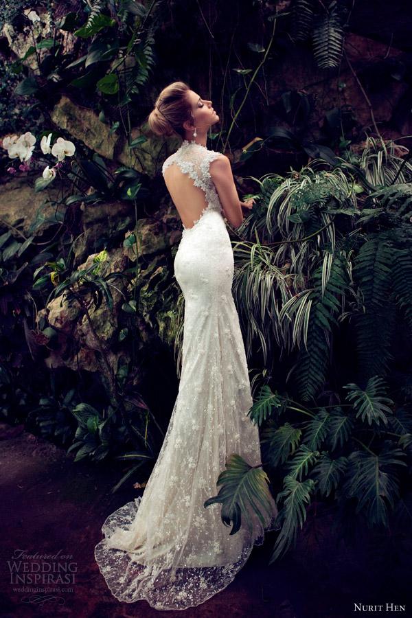 Nurit galinha 2013 do vestido de casamento fechadura de volta