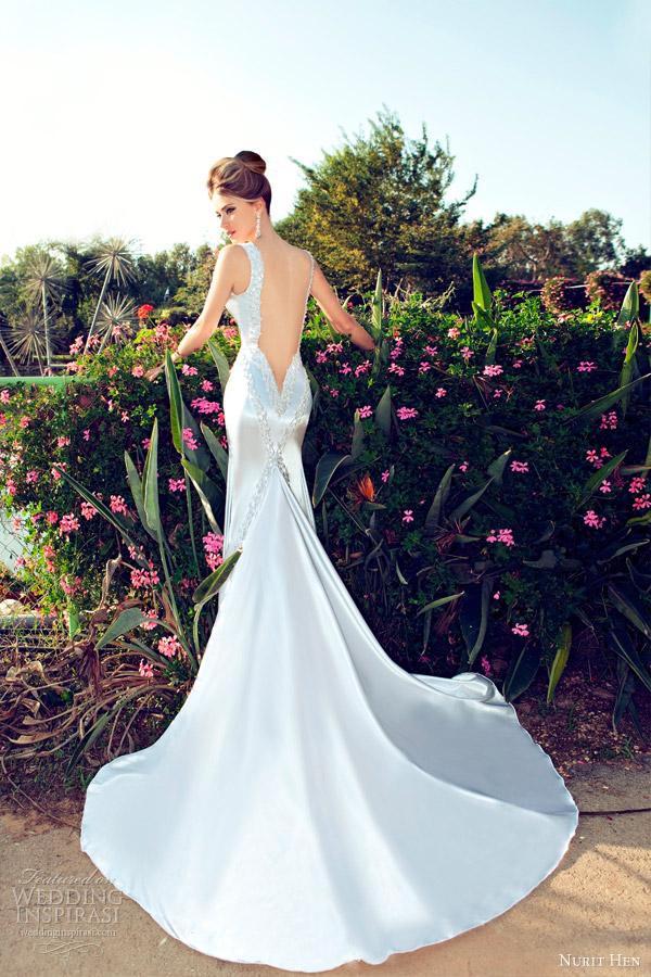 Nurit galinha 2013 do vestido de casamento aberto bainha de volta
