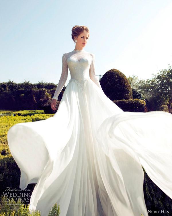 Nurit galinha noivas 2013 vestido de noiva de mangas compridas