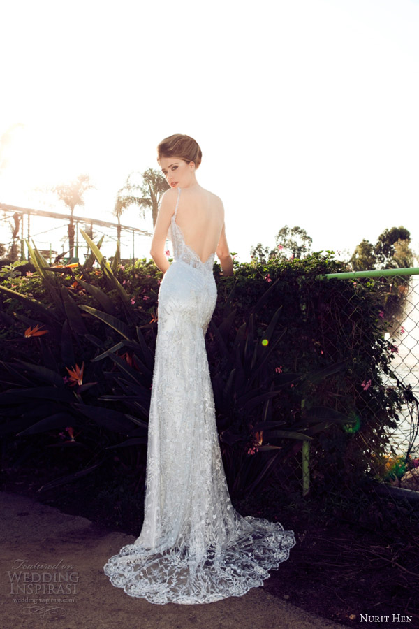 nurit hen wedding dresses 2013 sheath straps plunge open back