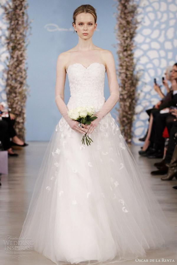 Oscar de la Renta nupcial 2014 primavera tule vestido de noiva querida