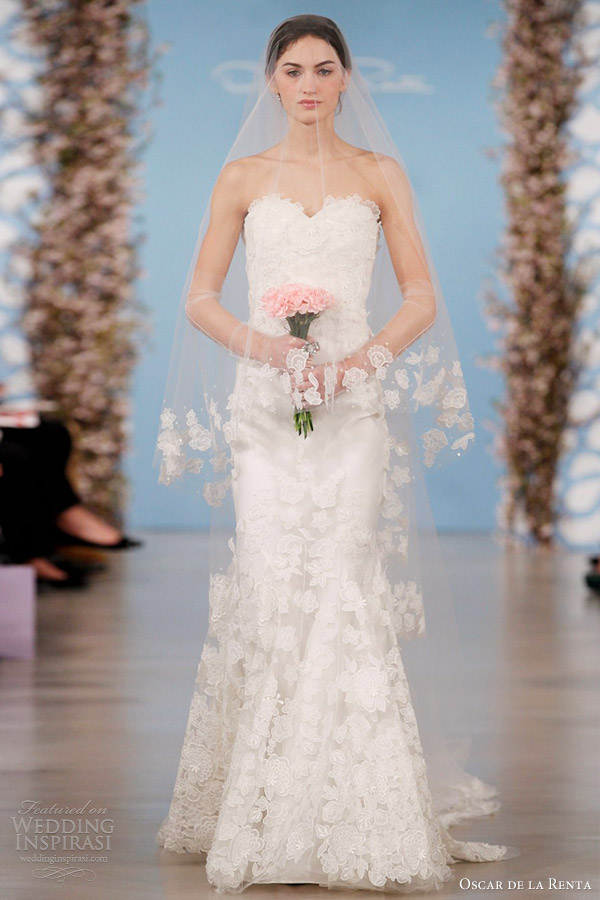 oscar de la renta wedding dresses 2014 flower embroidered silk organza sweetheart trumpet gown