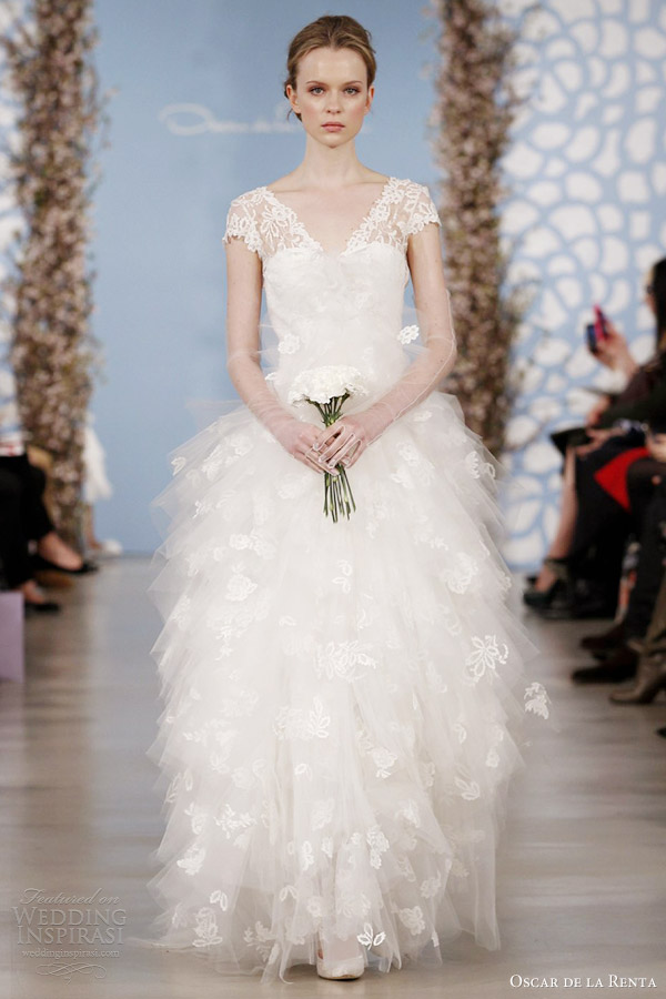 Oscar de la renta bridal 2014 wedding dresses wedding for Lace wedding dress overlay