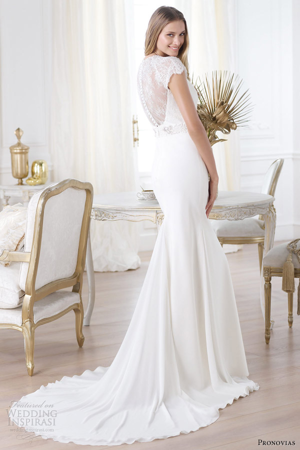 pronovias 2014 collection laila short sleeve wedding dress illusion back