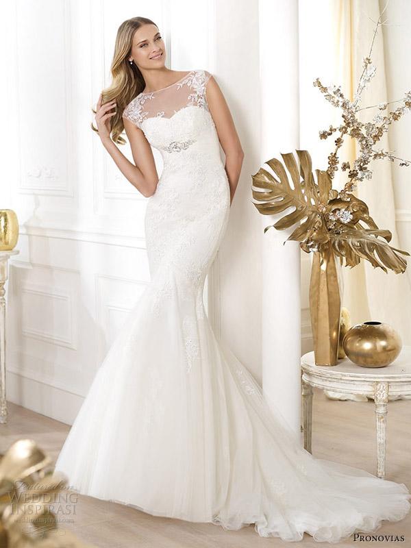 pronovias 2014 fashion bridal leonde cap sleeve wedding dress