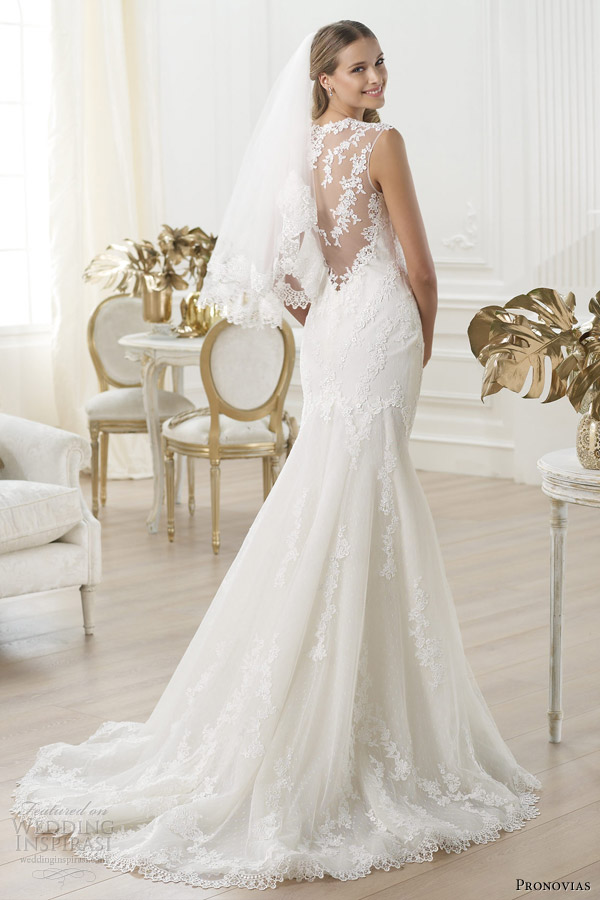 pronovias 2014 laren portrait illusion back sleeveless bridal gown