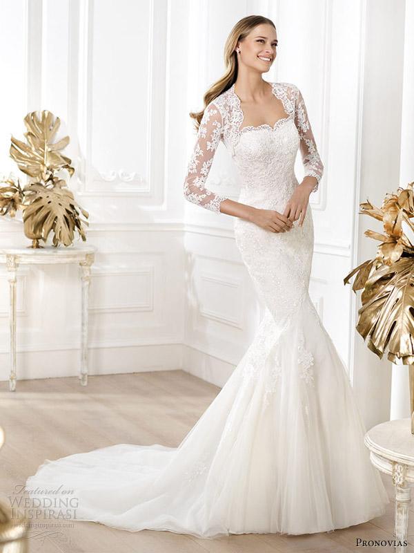 pronovias bridal 2014 fashion lanete straples lace gown sleeve jacket