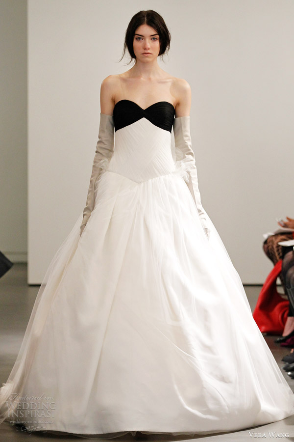 Satin a line strapless sweetheart neckline gathered bodice for Vera wang tea length wedding dress