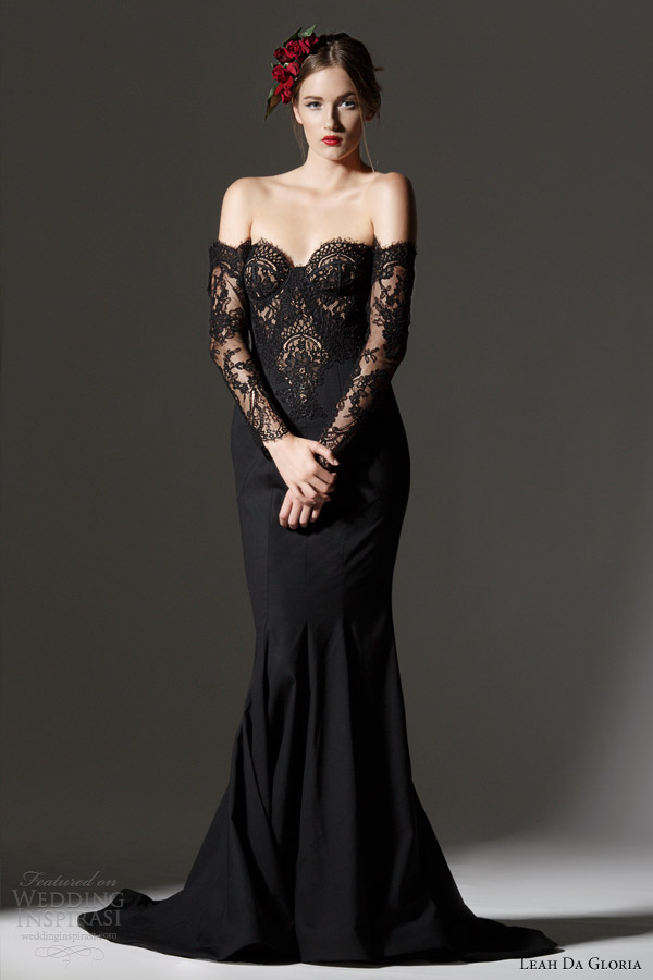 with lace bodice and off the shoulder long lace sleeves