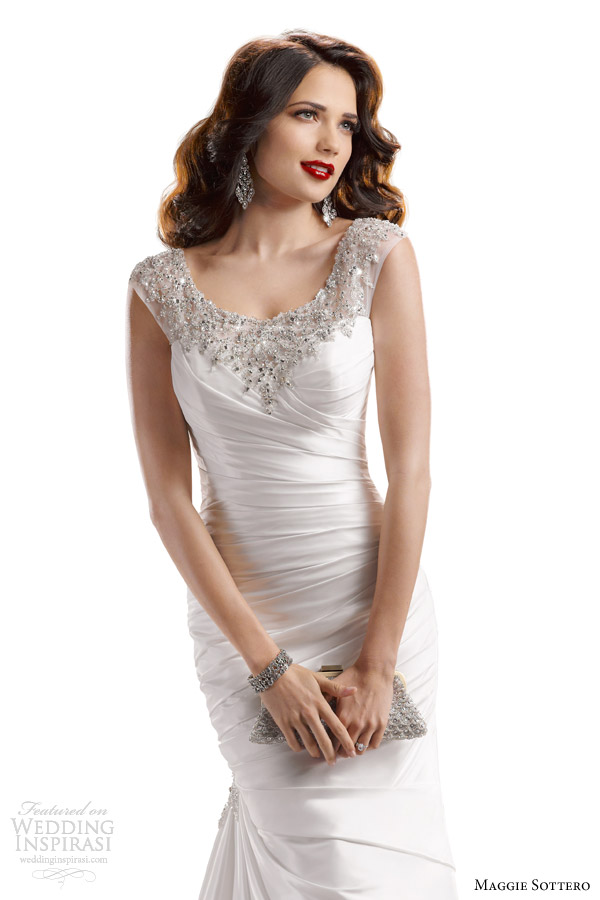 maggie sottero fall 2013 landyn wedding dress bateau neckline swarovski crystals