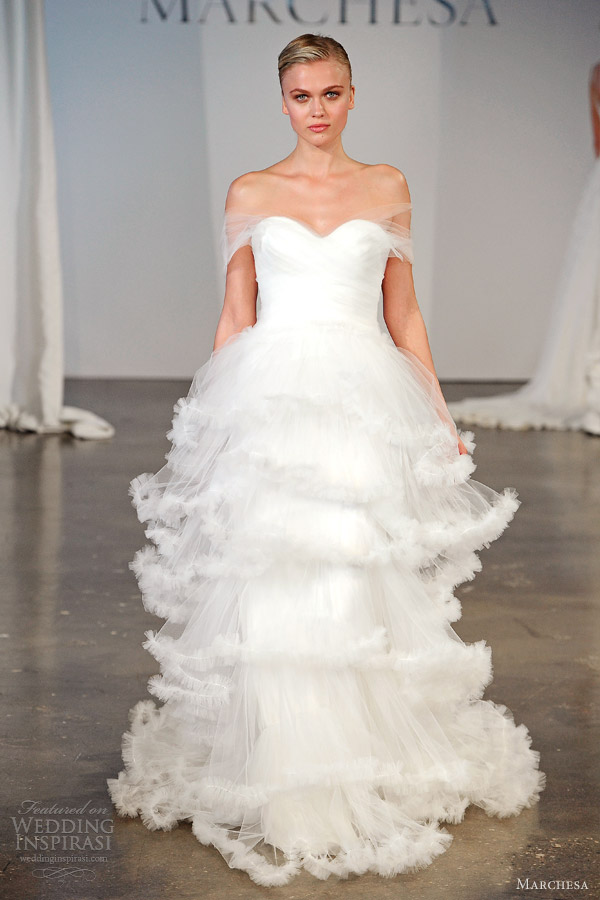 marchesa bridal 2014 spring off shoulder tiered wedding dress tulle wrap
