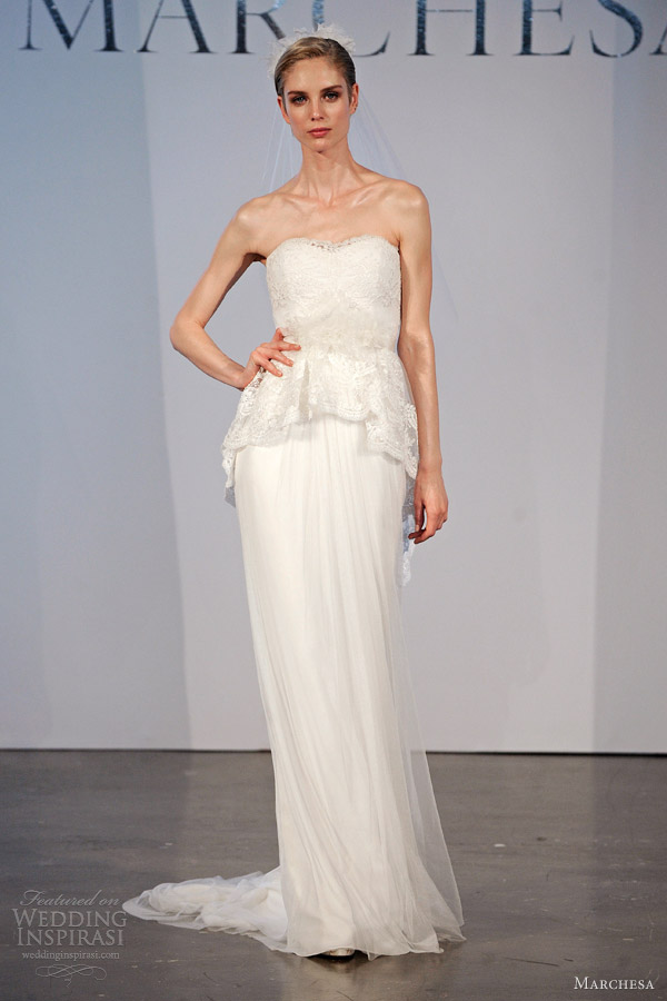 marchesa bridal spring 2014 strapless column gown lace peplum