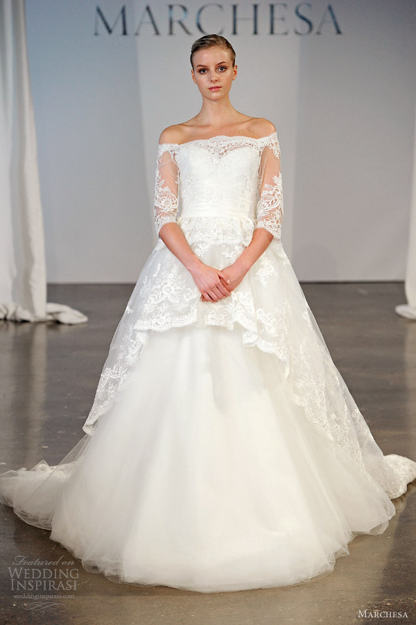 marchesa spring 2014 bridal off shoulder lace sleeves bodice overskirt ball gown