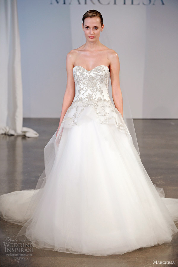 marchesa spring 2014 bridal strapless ball gown embroidered bodice