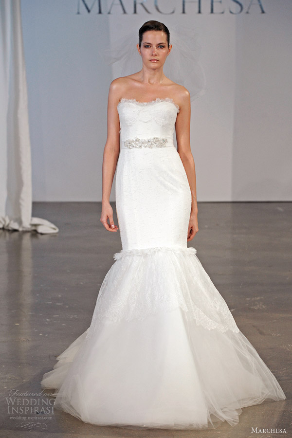 marchesa spring 2014 bridal strapless lace mermaid gown