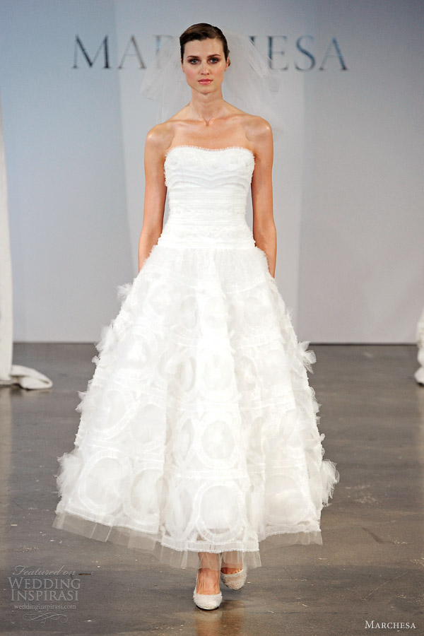 marchesa spring 2014 bridal strapless tea length wedding dress
