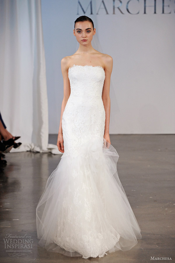 marchesa wedding dresses bridal spring 2014 strapless lace gown tulle
