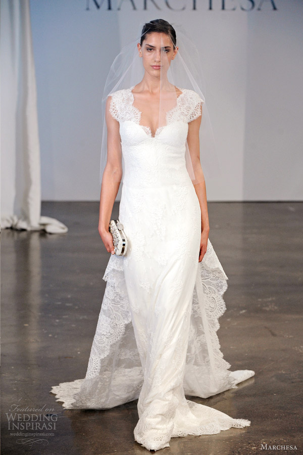 marchesa wedding dresses spring 2014 bridal cap sleeve lace sheath train