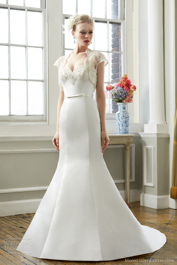 moonlight bridal collection fall 2013 style j6271 wedding dress short sleeve lace bolero