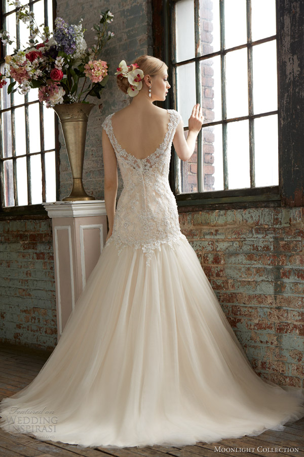 moonlight collection fall 2013 bridal style j6281 gold ivory fit flare wedding dress cap sleeves back train