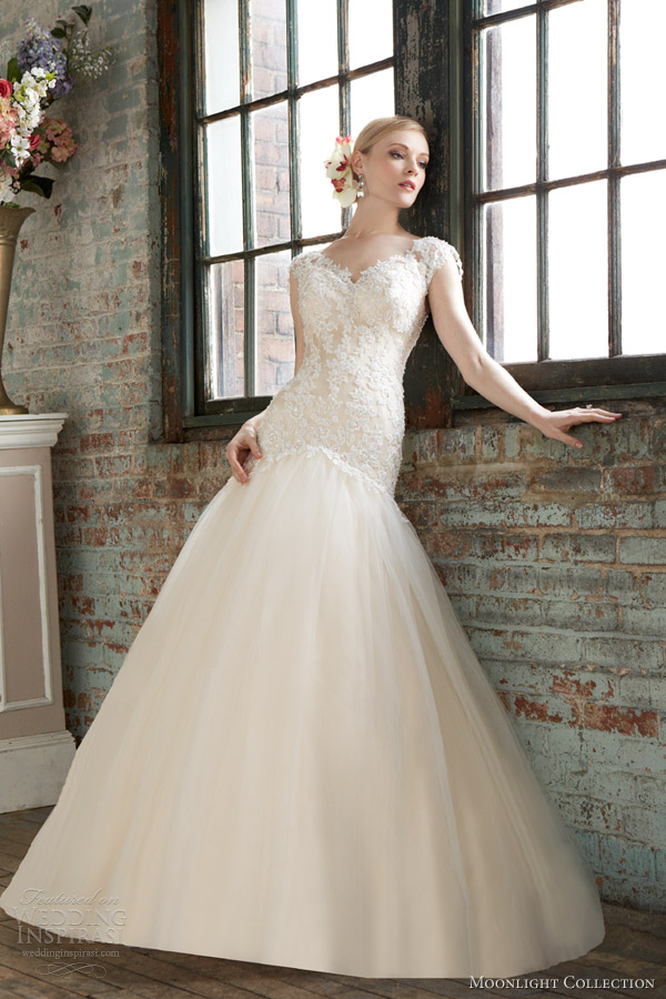 moonlight collection fall 2013 bridal style j6281 gold ivory fit flare wedding dress cap sleeves