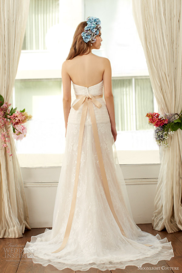 moonlight couture bridal fall 2013 2014 strapless wedding dress slit style h1226 back train
