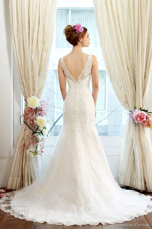 moonlight couture fall 2013 2014 bridal mermaid lace wedding dress style h1230 back scalloped v