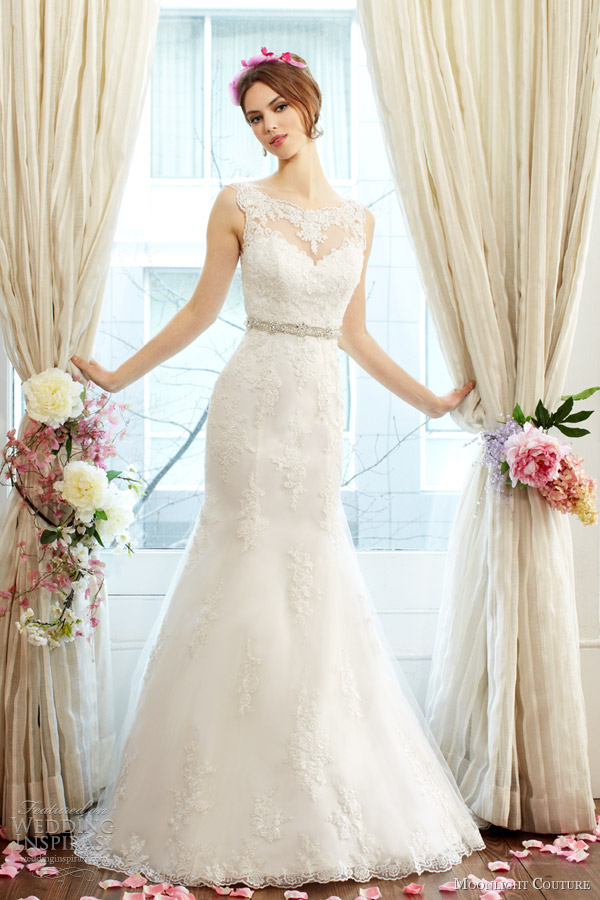 moonlight couture fall 2013 2014 bridal mermaid lace wedding dress style h1230
