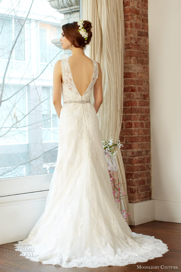 moonlight couture fall 2013 bridal sleeveless wedding dress style h1223 back train