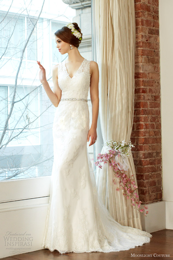 moonlight couture fall 2013 bridal sleeveless wedding dress style h1223