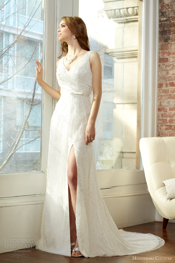 moonlight couture fall 2013 bridal sleeveless wedding dress thigh slit style h1225
