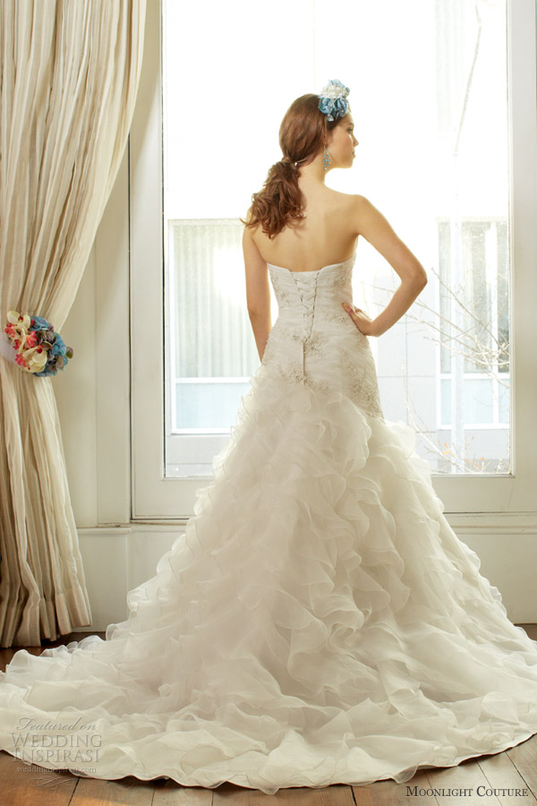 moonlight couture fall 2013 bridal strapless organza ruffle wedding dress style h1221 back train