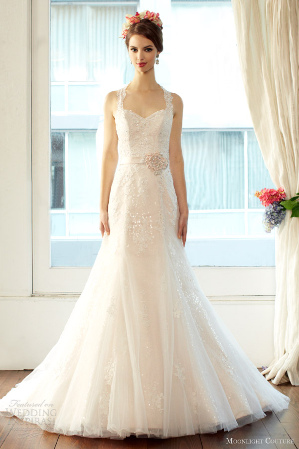 moonlight couture wedding dresses fall 2013 bridal halter strap gown style h1227