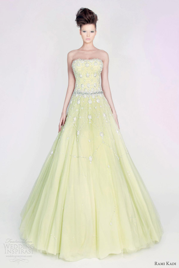 rami kadi couture 2013 hand embroidered strapless tulle gown