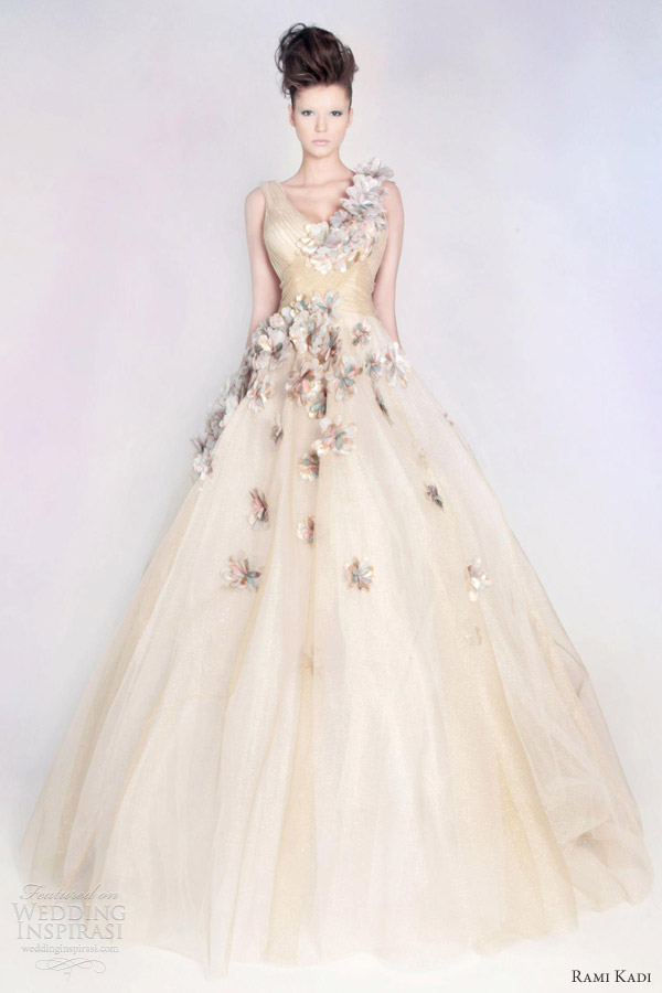 rami kadi couture wedding dress hand embroidered tulle ball gown color