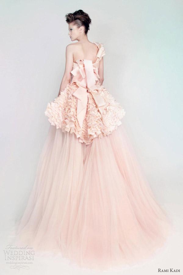 rami kadi wedding dress pink silk mikado tulle draped ball gown back peplum