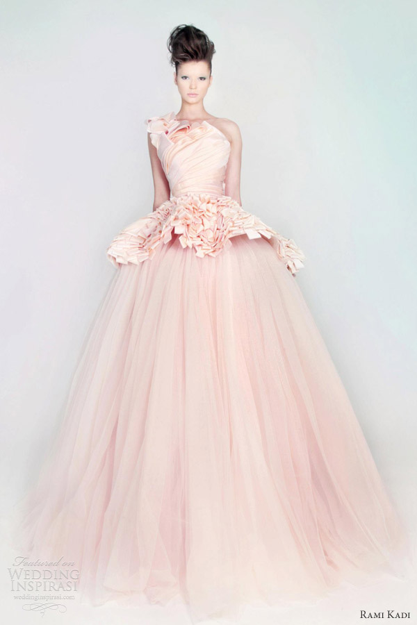 Rami Kadi Wedding Dress Pink Silk Mikado Tulle D Ball Gown