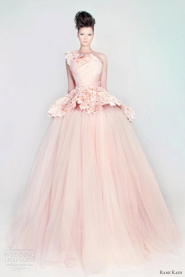 rami kadi wedding dress pink silk mikado tulle draped ball gown