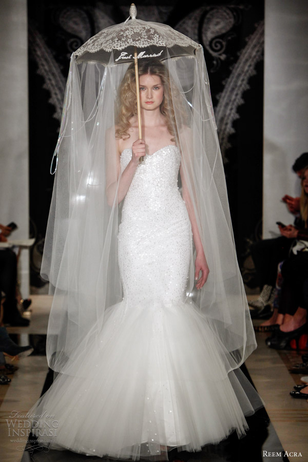reem acra bridal spring 2014 shea strapless sweetheart embroidered mermaid gown with dropped tulle skirt