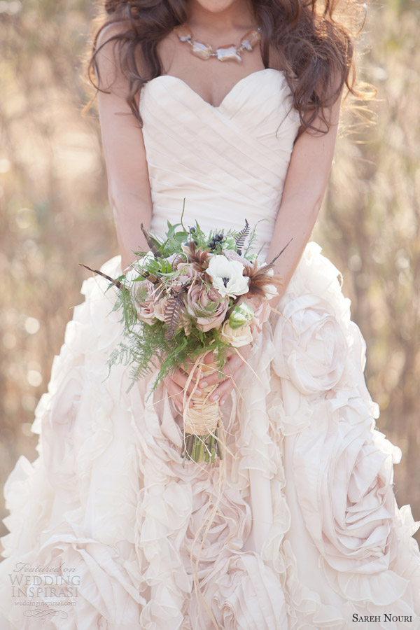 Sareh Nouri Pink Wedding Dress Bohemian Woodland Bridal Theme 2013