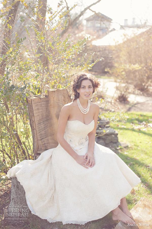 sareh nouri strapless wedding dress bohemian bridal theme 2013