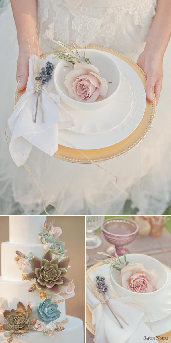 sareh nouri wedding dress gold pink themed bridal shoot countryside woodland