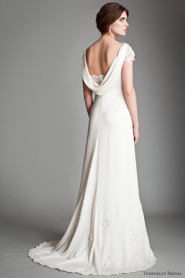 temperley 2014 bridal titania dorothy cap sleeve gown cowl back