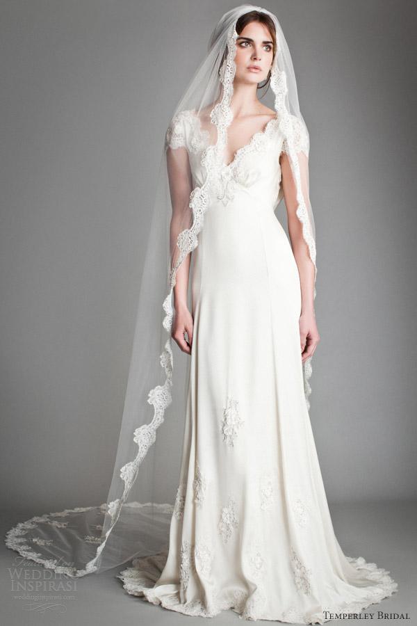 temperley 2014 bridal titania dorothy cap sleeve gown veil