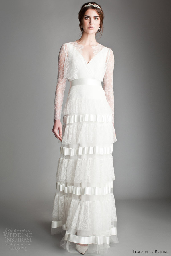 temperley 2014 bridal titania orchid dress long sleeve wrap bodice