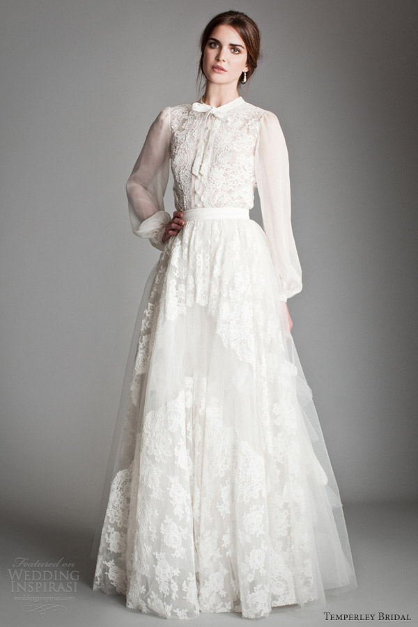 temperley bridal 2014 titania heather long sleeve blouse petunia skirt